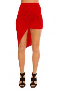 Womens Slimming Plain Irregular Hem Pencil Skirt Red