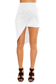 Womens Slimming Plain Irregular Hem Pencil Skirt White