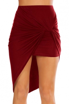 Womens Slimming Plain Irregular Hem Pencil Skirt Ruby