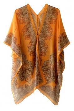 Womens Chic Chiffon Printed Shawl Poncho Orange