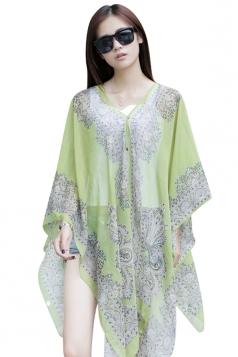 Womens Chic Chiffon Printed Shawl Poncho Green