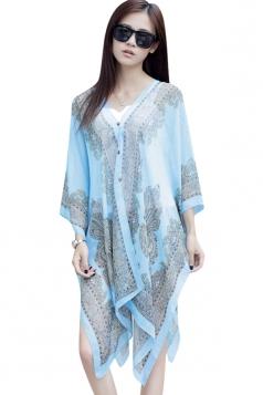 Womens Chic Chiffon Printed Shawl Poncho Light Blue