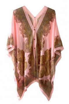 Womens Chic Chiffon Printed Shawl Poncho Pink