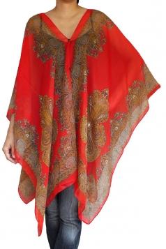 Womens Chic Chiffon Printed Shawl Poncho Red