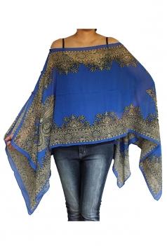 Womens Chic Chiffon Printed Shawl Poncho Sapphire Blue