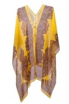 Womens Chic Chiffon Printed Shawl Poncho Yellow