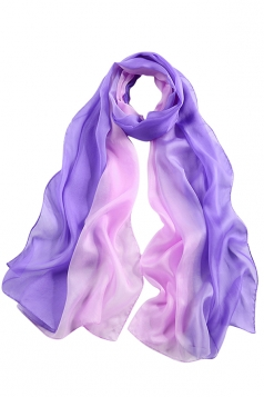 Womens Fashion Gradient Color Block Scarf Light Purple