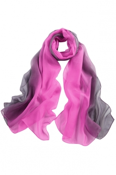 Womens Fashion Gradient Color Block Scarf Rose Red
