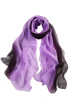 Womens Fashion Gradient Color Block Scarf Purple