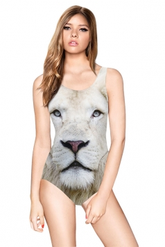 Womens Slimming Lion Printed Backless Classic Monokini Beige White