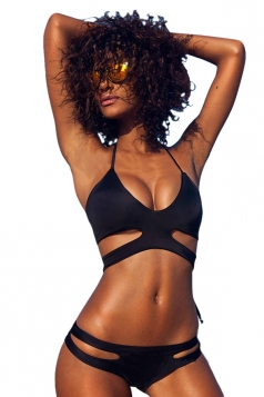 Womens Sexy Halter Bandage Cut Out Bikini Top & Swimwear Bottom Black