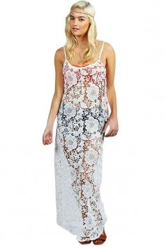 Womens Sexy Lace See Through Spaghetti Straps Beach Dress White