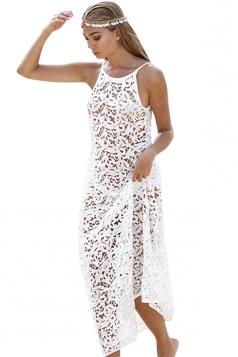 Womens Sexy Hollow Out Spaghetti Straps Long Beach Dress White