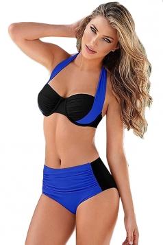 Womens Color Block Bikini Top&High Waist Swimwear Bottom Sapphire Blue