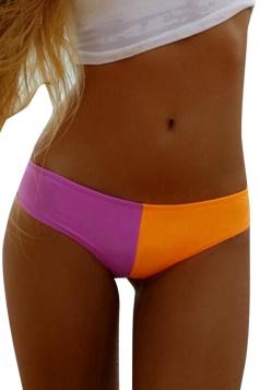Womens Chic Color Blocking Swimsuit Bottom Orange