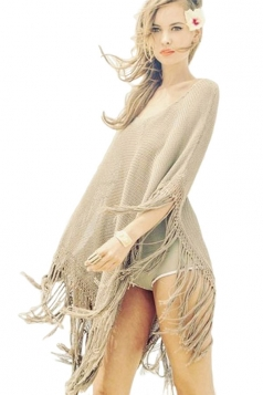 Womens Chic Sheer Fringe Poncho Beach Cover-up Khaki