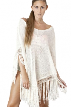 Womens Chic Sheer Fringe Poncho Beach Cover-up White