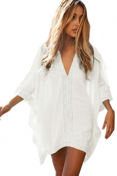 Womens Casual Plain V Neck Pullover Beach Cover-up White