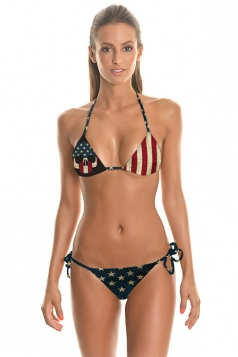 Womens Stars and Stripes Print Top&Double-string Bottom Bikini Set Red