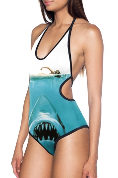 Womens Sexy Halter Shark Printed Backless Monokini Light Blue