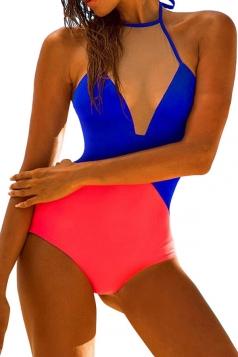 Womens Halter Sheer Mesh Patchwork Color Block Monokini Sapphire Blue