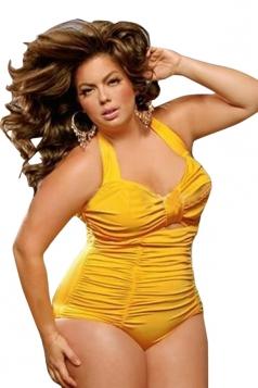 Womens Plus Size Halter Draped Cut Out Monokini Yellow