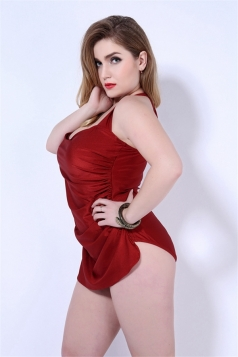 Womens Sexy Halter Plain Draped One Piece Swimsuit Red