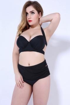 Womens Halter Plain Plus Size Bikini Top&Bandage Swimwear Bottom Black