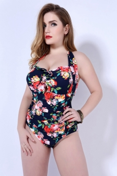 Womens Plus Size Halter Floral Printed One Piece Swimsuit Navy Blue