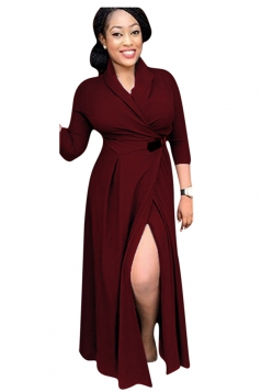 Womens Chic Plain V Neck Long Sleeve Long Trench Coat Ruby
