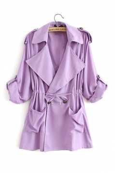 Womens Plain Turndown Collar Drawstring Waist Trench Coat Purple