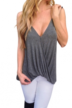 Womens Sexy Deep V Neck Pleated Camisole Top Gray