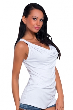 Womens Chic Heaps Collar Sleeveless Camisole Top White