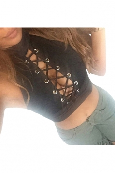 Womens Sexy Lace Up Cut Out Sleeveless Crop Top Black