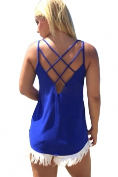 Womens Sexy Plain Cross Spaghetti Straps Back Camisole Top Blue