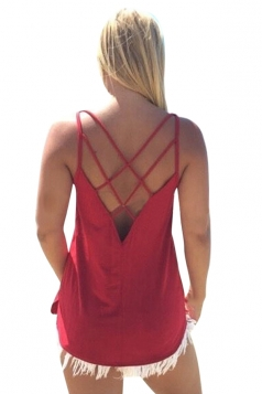 Womens Sexy Plain Cross Spaghetti Straps Back Camisole Top Red