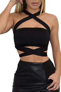 Womens Sexy Plain Cross Bandage Crop Top Black