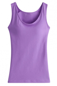 Womens Chic Plain Wireless Bra Tank Top Purple