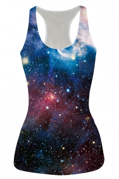 Womens Chic Galaxy Printed Tank Top Blue