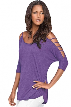 Womens Sexy Plain Cut Out Sleeve Tee Shirt Purple