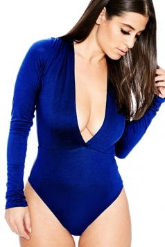 Womens Sexy Long Sleeve Deep V Neck Plain Bodysuit Blue