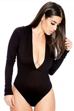 Womens Sexy Long Sleeve Deep V Neck Plain Bodysuit Black