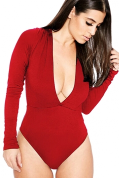 Womens Sexy Long Sleeve Deep V Neck Plain Bodysuit Red