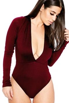 Womens Sexy Long Sleeve Deep V Neck Plain Bodysuit Ruby