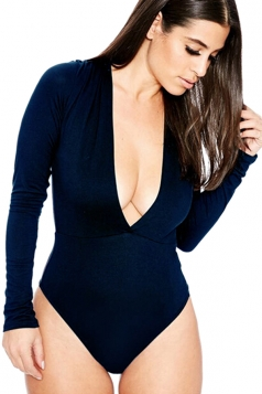 Womens Sexy Long Sleeve Deep V Neck Plain Bodysuit Navy Blue