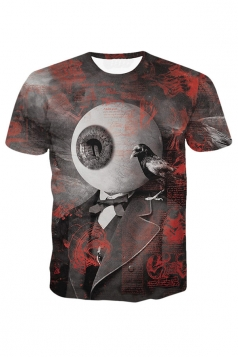 Womens Eyeball Printed Short Sleeve Tee Shirt Ruby