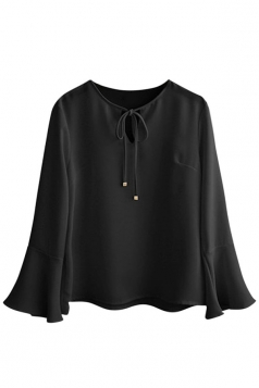 Womens Plus Size Plain Flare Sleeve Blouse Black