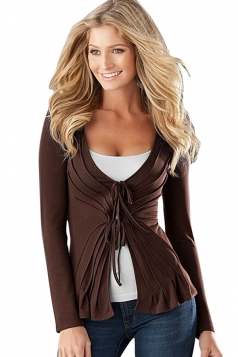 Womens Sexy Plain Long Sleeve Lace Up Blazer Brown