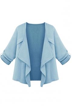 Womens Plain Irregular 3/4 Length Sleeve Short Blazer Light Blue