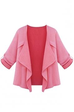 Womens Plain Irregular 3/4 Length Sleeve Short Blazer Pink